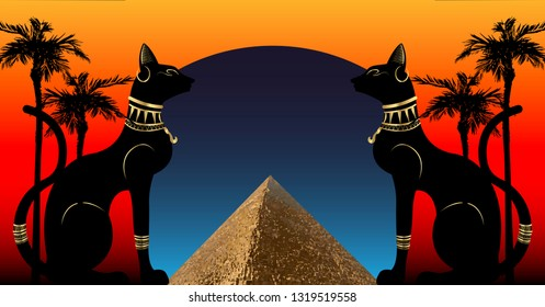 Egyptian cats and Antique Pyramid. Bastet, ancient Egypt goddess and palms, statue profile with Pharaonic gold jewelry. Egypt Pyramid Landmark Concept, Cairo City, Vector illustration