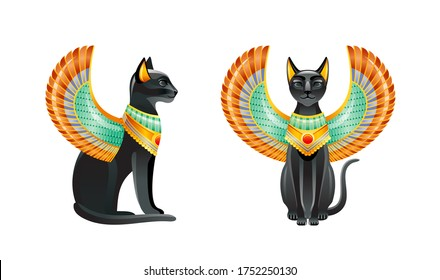 Egyptian Cats. Bastet goddess. Black cat set with scarab wing and gold necklace. Statuette from ancient Egypt art. Cartoon 3d icon. Logo design. Old style vector illustration isolated white background