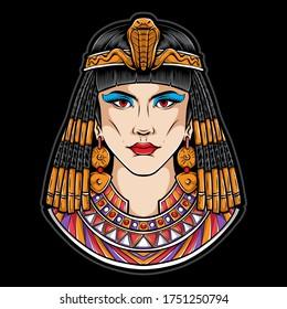 egyptian cleopatra vector logo illustration