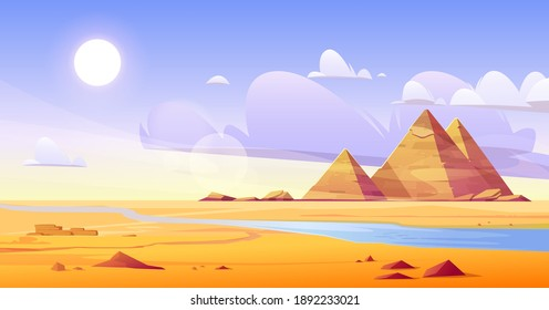 Egyptian desert with river and pyramids. Vector cartoon illustration of landscape with yellow sand dunes, blue water of Nile, ancient tombs of Egypt pharaoh, hot sun and clouds in sky