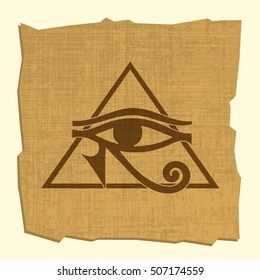 Egyptian Eye of Horus on papyrus, vector