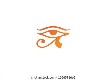 Egyptian eye of hours flat vector illustration