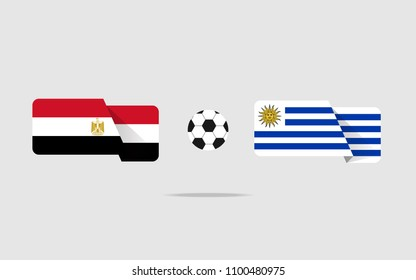 Egyptian flag and Uruguayan flag with a ball in between showing competition