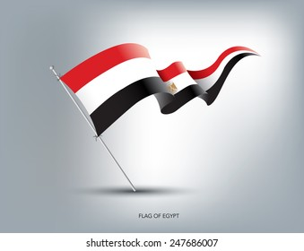 Egyptian flying flag in isolated background
