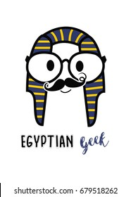 Egyptian geek man / Egyptian geek with mustache  logo isolated on white background