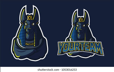 egyptian god anubis sport gaming mascot logo template