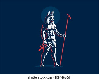 The Egyptian god Anubis. Vector emblem.