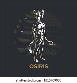 Egyptian god Osiris. A man with a Jed and a staff in his hand. Ankh. Vector illustration.