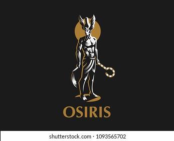 The Egyptian god Osiris. Vector Emblem.