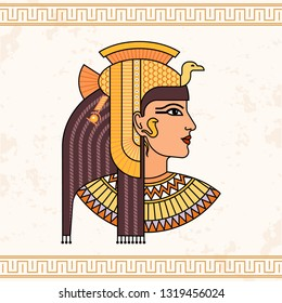 The Egyptian goddess Isis. Animation portrait of the beautiful Egyptian woman. Vector illustration isolated on background. Print, poster, t-shirt, tattoo.