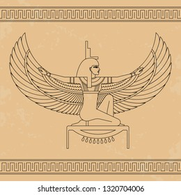 The Egyptian goddess Isis and set of Egypt hieroglyphs. Animation portrait of the beautiful Egyptian woman. Vector illustration isolated on background. Print, poster, t-shirt, tattoo.