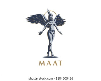 Egyptian goddess Maat. Vector emblem.