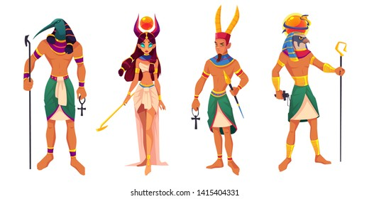Egyptian gods Amun, Ra, Thoth, Hathor. Ancient Egypt deities and mythological creatures with religion attributes isolated on white background. Culture sacred characters. Cartoon vector illustration