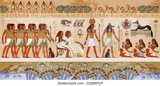 Egyptian Gods And Pharaohs. Ancient Egypt Scene, Mythology. Hieroglyphic  Carvings On The Exterior