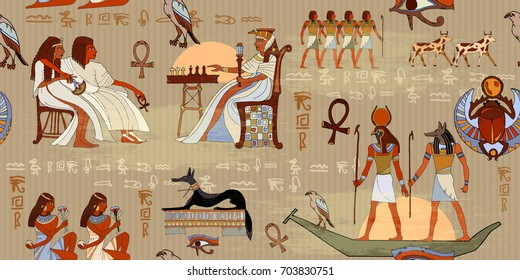 Egyptian gods and pharaohs seamless pattern. Hieroglyphic carvings on the exterior walls of an ancient egyptian pattern