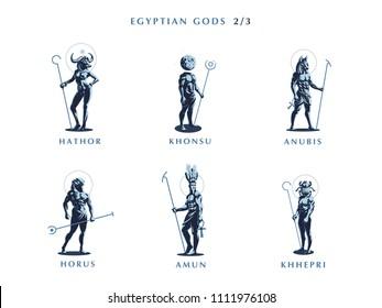 Egyptian gods. Set 2/3 of vector emblems.