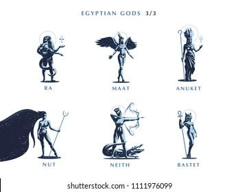 Egyptian gods. Set 3/3 of vector emblems.