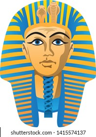 Egyptian Golden Pharaoh Burial Mask, Bold Colors, Isolated Vector Illustration