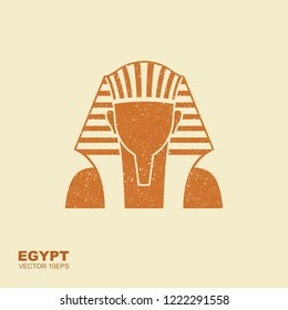 Egyptian golden pharaohs mask icon. Illustration of egyptian golden pharaohs mask. Flat icon with scuffed effect