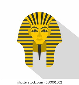 Egyptian golden pharaohs mask icon. Flat illustration of egyptian golden pharaohs mask vector icon for web isolated on white background