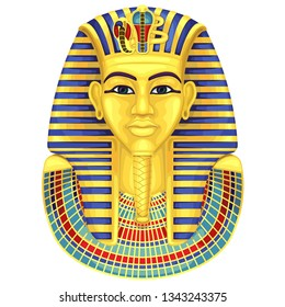 Egyptian golden pharaohs mask.Ancient culture sing and symbol.Pharaoh.