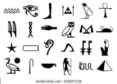 Egyptian hieroglyphs isolated on white. Ancient civilization vector symbols of . pharaoh, sphinx cat, pyramid, amun ra eye, birds etc. Egypt civilization writing symbols icons of water star hand snake