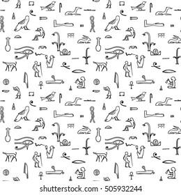Egyptian hieroglyphs seamless pattern. Vector.