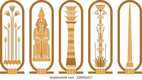 Egyptian icons with papyrus, sitting pharaoh, column-Udjat and obelisk in cartouches.