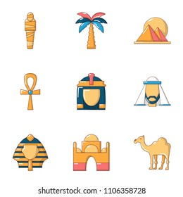Egyptian icons set. Cartoon set of 9 egyptian vector icons for web isolated on white background