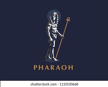 The Egyptian king. Pharaoh. Vector illustration.
