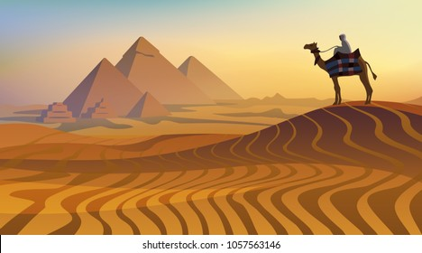 Egyptian landscape with pyramids and camel