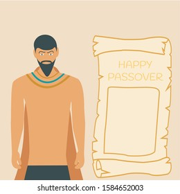 egyptian man print & male vector simple. bible history graphic greeting card. slave man cartoon or king Moses. happy passover holiday vector flat design for Jews. concept creative isolated character