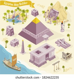 Egyptian map builder isometric set with ancient architecture and culture elements
