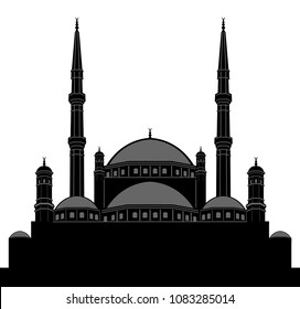 Egyptian Mosque Silhouette. All the objects and letters are in different layers and you can write anything you want with the mahya candles.