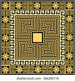 Egyptian ornament. Traditional vintage square Greek gold (yellow) ornament (Meander) and floral pattern on a black background.