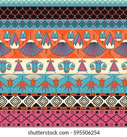 Egyptian ornament Tribal seamless pattern. Can be used for cloth, jackets, invitation, flyers, bags, notebooks, cards, envelopes, pads, blankets, furniture, packing,