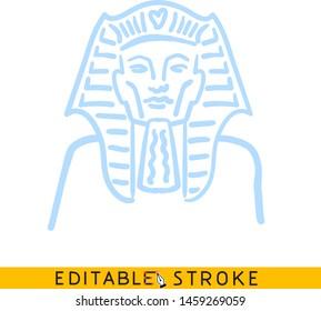 Egyptian Pharaoh icon. Blue color line doodle sketch. Editable stroke icon.