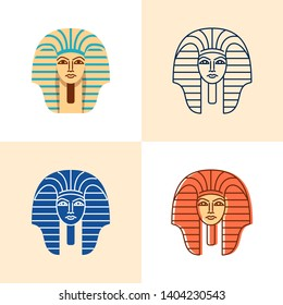 Egyptian pharaoh icon set in flat and line style. Ancient statue golden mask symbol. Vector illustration.