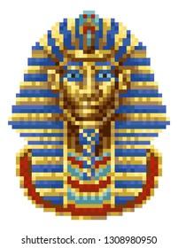 Egyptian Pharaoh Mask Icon in a retro 8 bit arcade video game pixel art style.