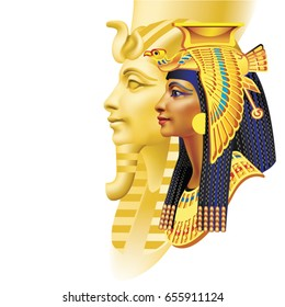 Egyptian pharaoh and queen on white background (right)