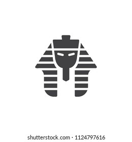 Egyptian pharaoh vector icon. filled flat sign for mobile concept and web design. Tutankhamen mask simple solid icon. Symbol, logo illustration. Pixel perfect vector graphics