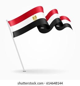 Egyptian pin icon wavy flag. Vector illustration.