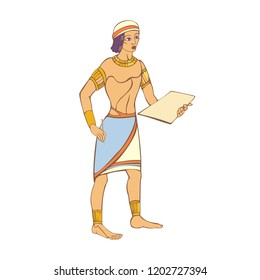 Egyptian preparing to write on a clay tablet with a stylus.