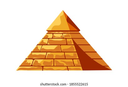 Egyptian pyramid from golden sand blocks, tomb of the pharaoh, cartoon vector illustration
