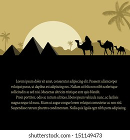 Egyptian pyramids with camels caravan at sunset with space for your text, vector illustration
