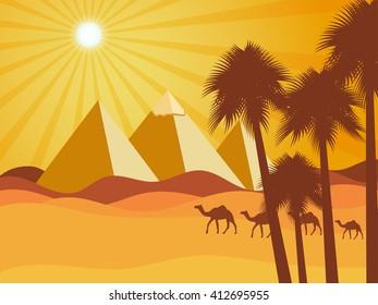 Egyptian pyramids in the desert. Vector background. Illustration.