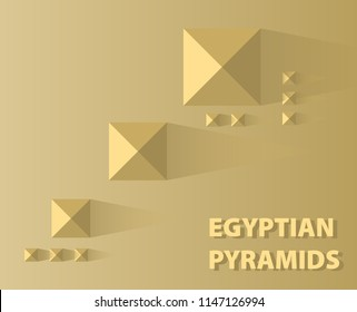 Egyptian pyramids in Giza view from above. Tombs of pharaohs in the desert. Vector background of a pyramid.