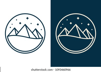 Egyptian pyramids or mountains icon or logo, simple desert night landscape with stars. Two color variants, white and dark background. Flat vector line illustration.