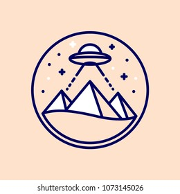 Egyptian pyramids at night with UFO beam. Alien built pyramids conspiracy theory. Simple and modern line icon or logo, vector illustraton.
