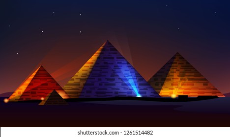 Egyptian pyramids spotlights. night landscape. colorful lights. realistic vector illustration